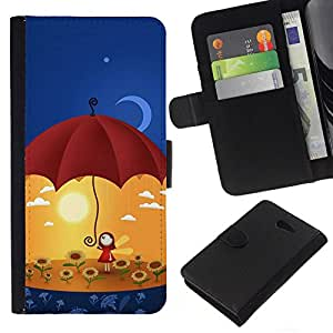 All Phone Most Case / Oferta Especial Cáscara Funda de cuero Monedero Cubierta de proteccion Caso / Wallet Case for Sony Xperia M2 // Cute Umbrella Girl