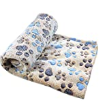 Pet Blanket ,Elevin(TM)Warm Pet Mat Pad Small Large Paw Print Cat Dog Puppy Fleece Soft Blanket (Coffee, M)