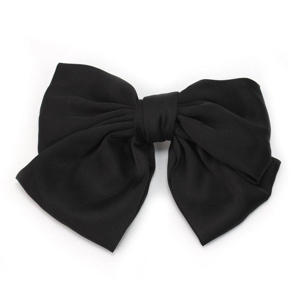 Tinksky Women's Girls Satin Big Bowknot Hair Clip Hairpin Headwear (Black)