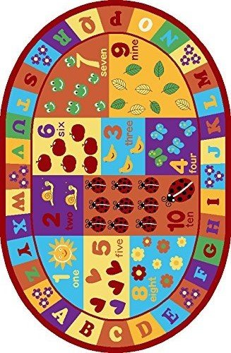 Furnish my Place Kids ABC Area Rug Educational Alphabet Letter and Numbers Multicolor Actual Size Anti-Skid, Oval by Furnish my Place (Image #3)
