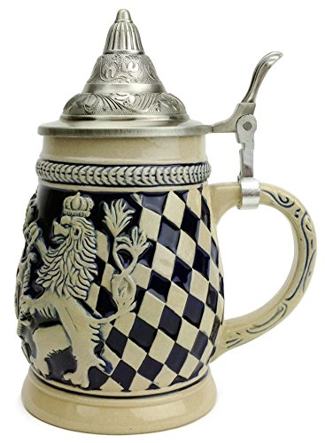 (Beer Stein Germany Bayern Coat of Arms Lidded Beer Mug by E.H.G. | .75 Liter)