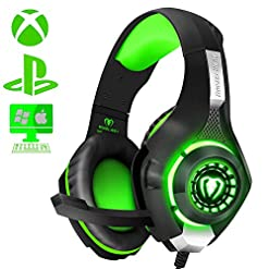 ShinePick Gaming Headset, Headset for Xbox One, PS4 Headset, 3.5mm Wire LED Light Noise Isolation Bass Stereo Headphone…