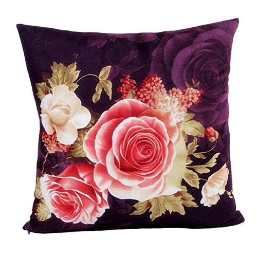 Litetao Printing Dyeing Peony Pillow Case, Throw Pillow Case Zipper Pillowslip Pillowcase For Dinning Room Kitchen Chair Back Seat (Purple) (Measurements Chair Bar)