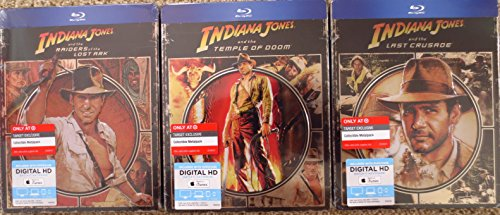 Indiana Jones Trilogy (Raiders Of The Last Ark, Temple Of Doom, The Last Crusade) [Blu ray/Digital HD Steelbook/Metalpak/Futurepak; Embossed; Target Exclusive -