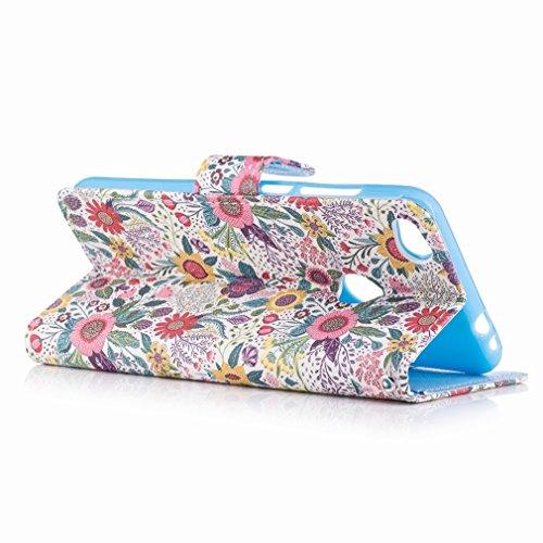 Yiizy Huawei P8 Lite (2017) / Honor 8 Lite / Nova Lite Custodia Cover, Della Margherita Di Colore Design Sottile Flip Portafoglio PU Pelle Cuoio Copertura Shell Case Slot Schede Cavalletto Stile Libro