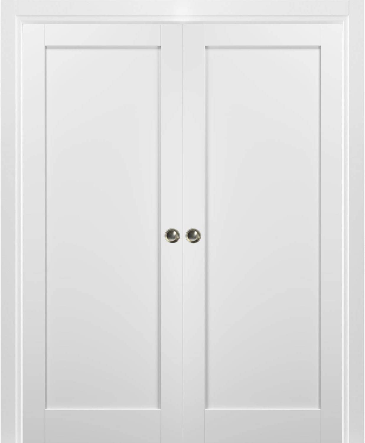 Kit Trims Rail Hardware Solid Wood Interior Pantry Kitchen Bedroom Sliding Closet Sturdy Door Quadro 4111 White Silk French Double Pocket Doors 36 x 80 with Frames