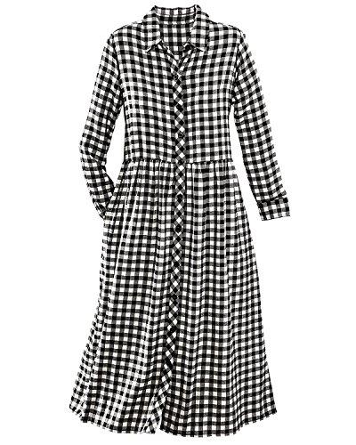 Citicraze Flannel Button-Front Dress, Black/white, Large