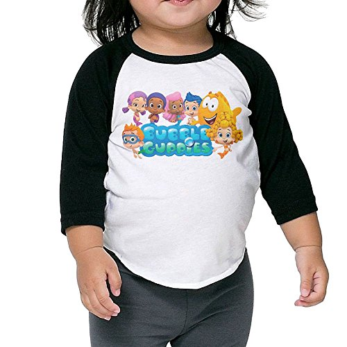 Grace Little Bubble Guppies Cartoon Geek Boys & Girls Infant 100% Cotton 3/4 Sleeve Raglan T-Shirts Unisex Black (Bubble Guppies Car Seat Cover)