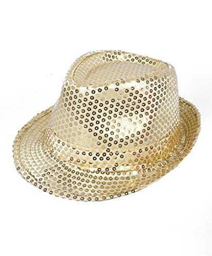 Buckletown Sequined Fedora Hat (Gold)]()