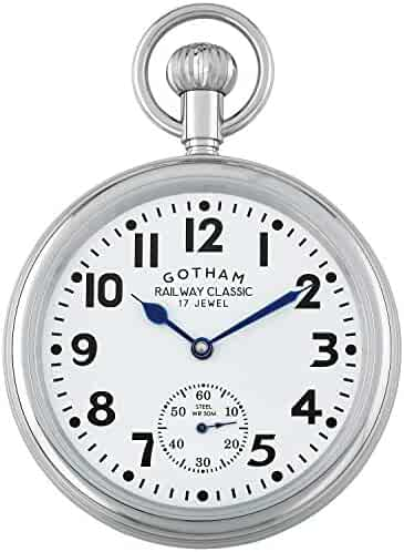 Gotham Men's Stainless Steel Mechanical Hand Wind Railroad Pocket Watch # GWC14104s