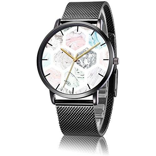 SunbirdsEast Wrist Watch, Marble Collection Mosaic Pattern Black Steel Analog Quartz Vogue (Roman Marble Mosaic)