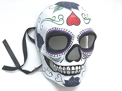 Mens Masquerade Skeleton Mask Day of the Dead Día de Muertos Wear or Deco (White)