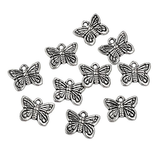 - RUBYCA 30PCS Charm Pendant Butterfly Tibetan Metal Beads Silver Color for Jewelry Making Bracelet