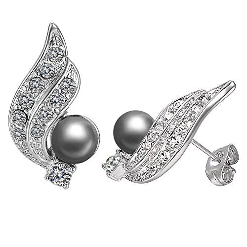 Yoursfs Freshwater Cultured Pearl Stud Earrings Gray Pearl and Cubic Zirconia clip earring (Black Wings) Gray Freshwater Pearl Earrings