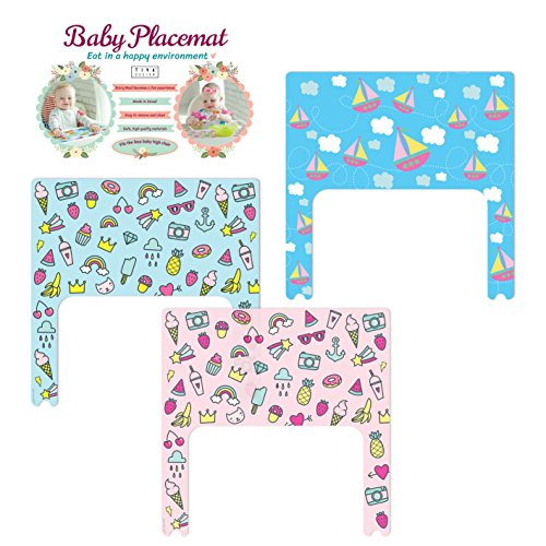 Tiva Design Baby Placemat Set Blue and Pink Summer and Boats