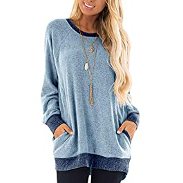 Women's Long Sleeve Tunic Tops Sweatshirt Casual Blouse Shirts