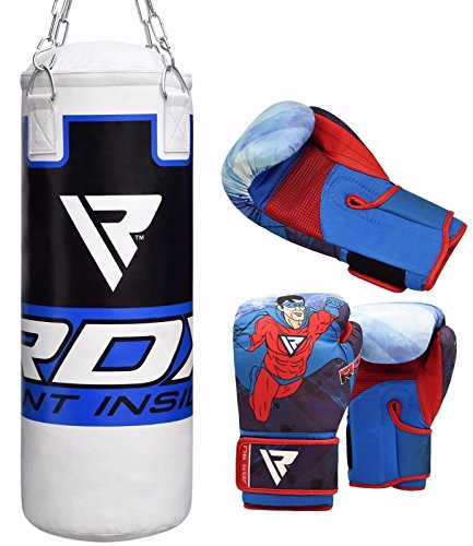 RDX Kids Punch Bag Filled Set Junior Kick Boxing Heavy MMA Training Youth Gloves Punching Mitts Martial Arts Hanging Chain Ceiling Hook Muay Thai 2FT – DiZiSports Store