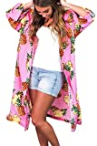 Assivia Womens Beachwear Cover up Swimwear Bikini Kimono Cardigan (Pineapple Pink, One Size)