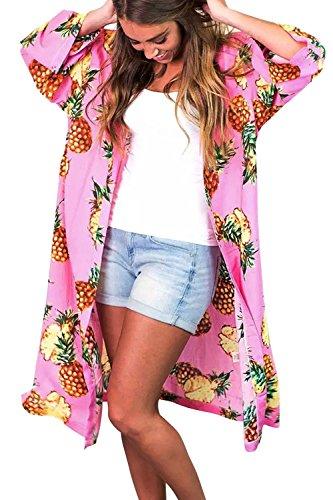 Assivia Womens Beachwear Cover up Swimwear Bikini Kimono Cardigan (Pineapple Pink, One Size) by Assivia