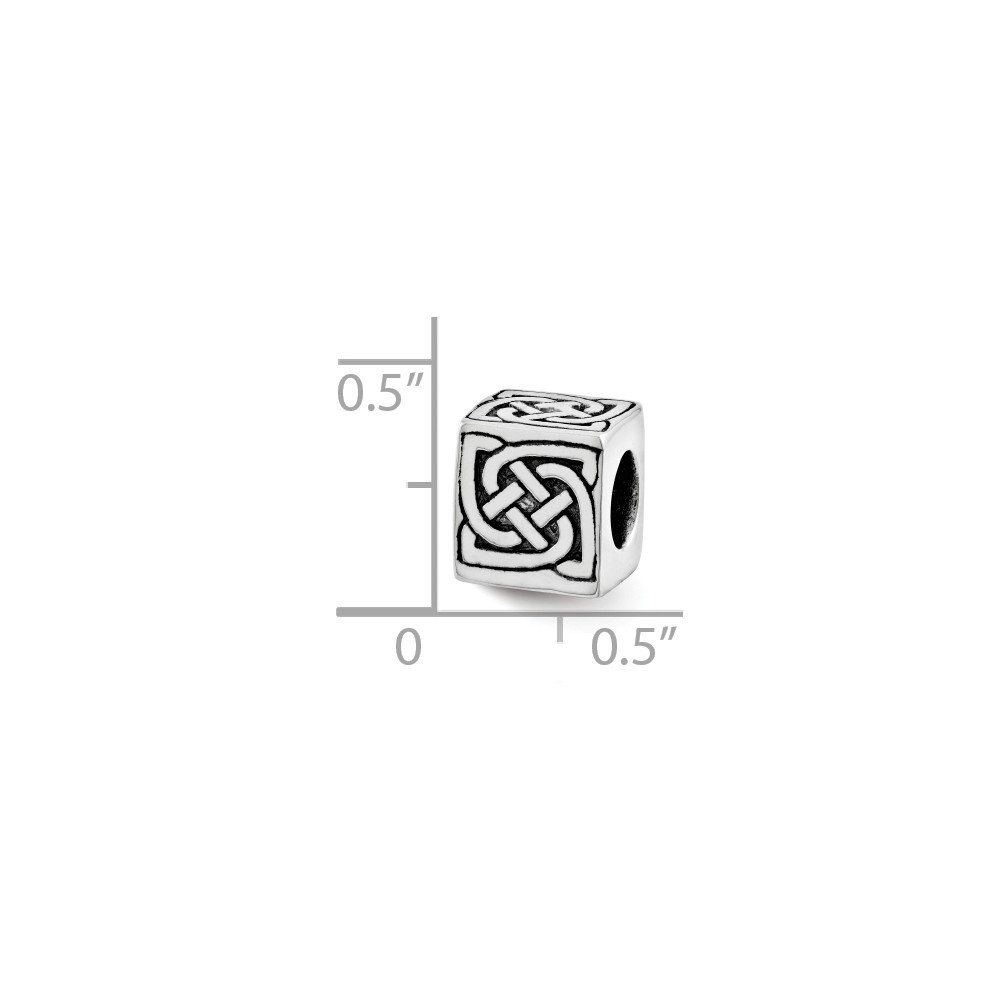 Celtic Block Charm in Silver for 3mm Charm Bracelets