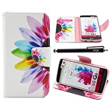 LG G3 Case, iYCK Premium PU Leather Flip Folio Carrying Magnetic Closure Protective Shell Wallet Case Cover for LG G3 with Kickstand Stand - Colorful Flower