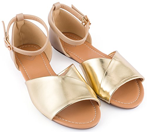 oe Flats Shoes - Ankle Strap Peep Toe Dress Sandals (Gold, 8) ()