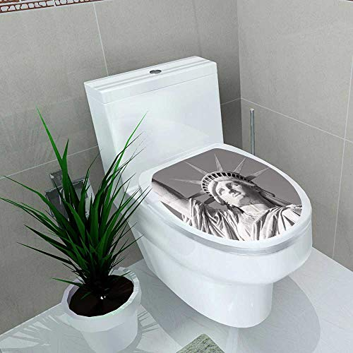 Auraise-home Bathroom Toilet seat Sticker Decal Statue of Liberty in Black and White New York Decal Sticker Vinyl W13 x L16 (Best Violin Shop In New York)