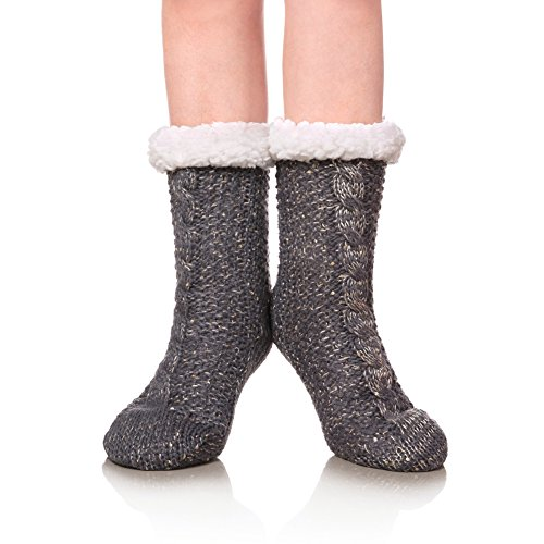 SDBING Women's Winter Super Soft Warm Cozy Fuzzy Fleece-lined Christmas Gift With Grippers Slipper Socks (Gray Sequin) ()