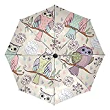 owl rain gear - Compact Travel Umbrella Auto Open Close Handle Windproof Lightweight with Cartoon Owl Pattern for Women and Kids