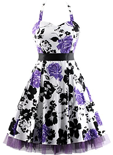 OTEN Women's Floral Vintage 1950s Halter Rockabilly Gown Cocktail Party Dress (X-Large, Purple Floral)