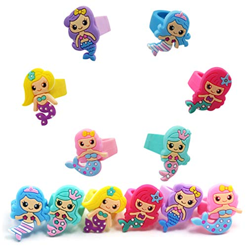 Bozoa (12) Mermaid Party Favors Rings - Colorful Cute Mermaid Silicone Rings for Kids Children Women Girl Pretend Play and Mermaid themed Party Supplies