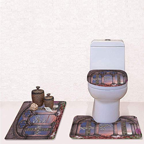Print 3 Pcss Bathroom Rug Set Contour Mat Toilet Seat Cover,Ancient Colonnade in Secret Garden with Flowers at Sunset Enchanted Forest with Grey Blue Lilac Red,decorate bathroom,entrance door,kitch
