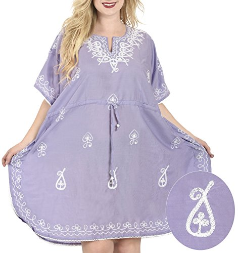 La Leela Rayon Hand Embroidered Plus Size Beach Swimwear Tunic Cover Up Purple Valentines Day Gifts 2017