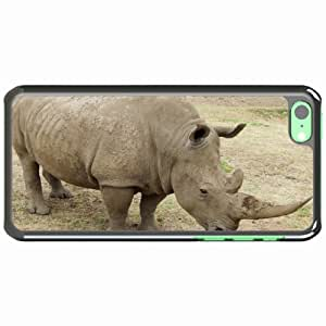 iPhone 5C Black Hardshell Case rhino dirt grass Desin Images Protector Back Cover by runtopwell