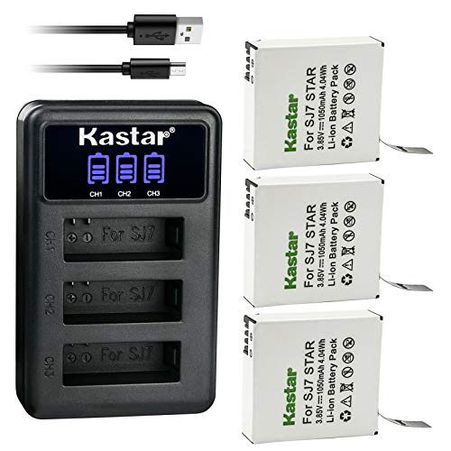 Kastar 3 Pack Battery and LCD Triple USB Charger Compatible with SJCAM SJ7 Star SJCAM SJ7B Battery and Charger, SJCAM SJ7 Star Sport Camera, SJCAM SJ7 Star 4K Ultra HD Action Camera