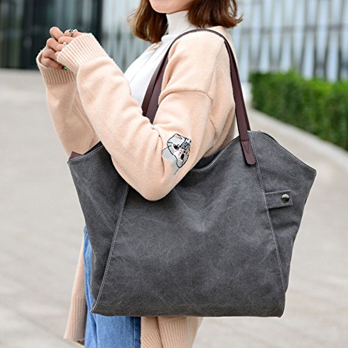 Bag SIMPLE For Gray Women SIMPLE Style Hobo Handbag Brown Girls Shoulder ParaCity Vintage Simple Canvas Shopper Women's Students Bag Totes SwwP4xR