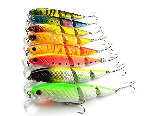 'lenpaby 8pezzi Multi articolato Minnow esca per la pesca Hard Bass Bait Swimbait Esche per Bass & Trout 10.5cm/4.13/14g
