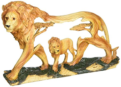 (StealStreet SS-UG-MMD-185, 8 Inch Lion in The Wild Woodlike Bust Scene Carving Statue)