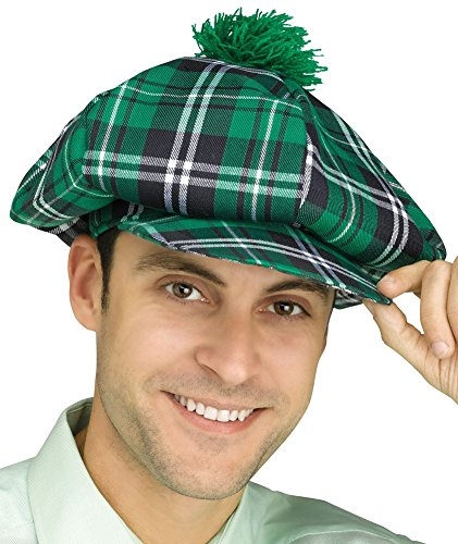 [Adults Scottish Highlander Plaid Golf Hat With Pom Costume Accessory] (Hat Costumes Accessory)