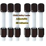Child Safety Locks Baby Proofing 3M Adhesive Safety Latches - For Cabinets, Drawers, Fridge Door - Trash Can, Toilet ( 6 Pack, Brown)