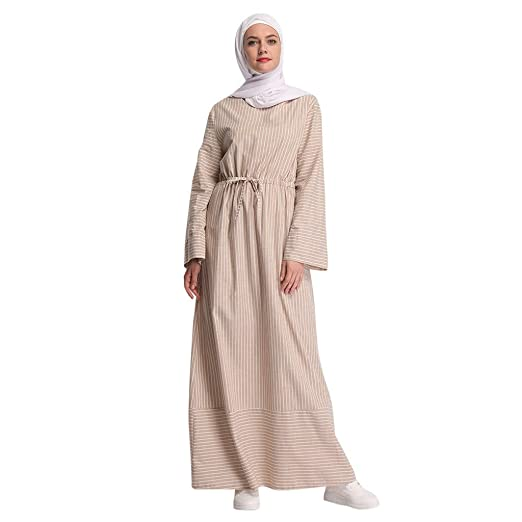 28b5d04fe6f Image Unavailable. Image not available for. Color  New Abaya Muslim Women  Striped Long Maxi Dress Dubai Islamic Kaftan Robe Ramadan