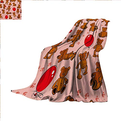 Kids Throw Blanket Vintage Teddy Bear Pattern Paws Footprint with Balloon and Hearts Party Warm Microfiber All Season Blanket for Bed or Couch 50 x 30 inch Red Pale Pink Cinnamon