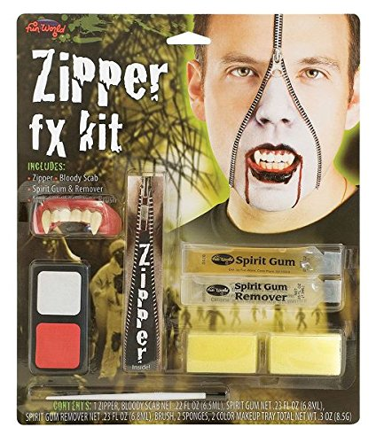 [Bristol Novelty Red/White/Black Vampire Zipper Fx Kit Make Up - Men's - One Size] (Zipper Fx Kit)