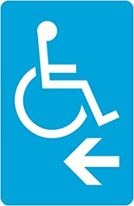 Blue Handicap Symbol Left Arrow Business Office Parking Car Lot Sign Aluminum Metal