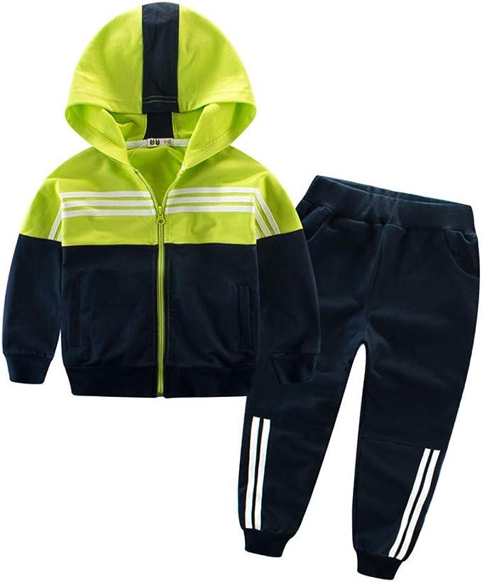 Boys Casual Tracksuit Long Sleeve Color Block Hoodie Jacket Sweatsuit Pants Outfit Set