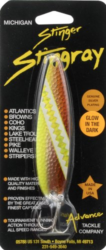 Advance Tackle Carmel Dolphin Michigan Stinger Stingray Fishing Spoon Lure, Brown/Yellow
