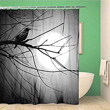 Spooky Graveyard Naked Trees Bats Shower Curtain Liner Waterproof Fabric Hooks