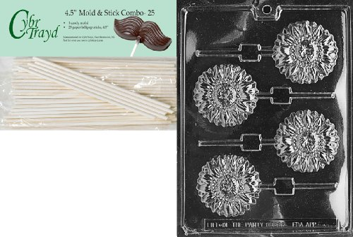 Cybrtrayd Sunflower Lolly Fruits and Vegetables Chocolate Candy Mold with 25 4.5-Inch Lollipop Sticks
