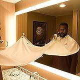 Beard Bib Kit (9pcs) - Shaving/Grooming Cape w/Strong Suction Cups, Beard Trimming Shaping Tool, Beard/Mustache Scissors, Sandalwood Beard Comb - Beard Trimmer Apron - Hair Catcher for Sink (white)