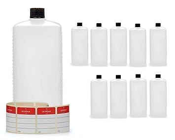 10 botellas de plástico de Octopus de 1000 ml, botellas de plástico de HDPE con